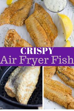 These Crispy and Flaky Air Fryer Fish filets are not only delicious, they are he. These Crispy and Flaky Air Fryer Fish filets are not only delicious, they are healthier for you too. Make them in your Air Fryer for a healthy dinner with less fat. Air Fryer Fish Recipes, Air Frier Recipes, Air Fryer Dinner Recipes, Fried Fish Recipes, Walleye Fish Recipes, Tilapia Recipes, Salmon Recipes, Seafood Recipes, Air Fried Fish