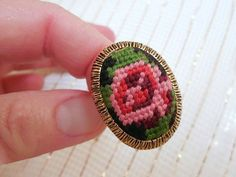 Vintage Adjustable Rose Needlepoint Ring/ by SheerTrashRoadshow