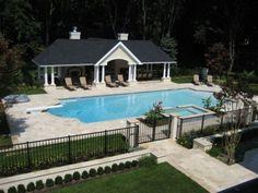 Beautiful pool and pool house.