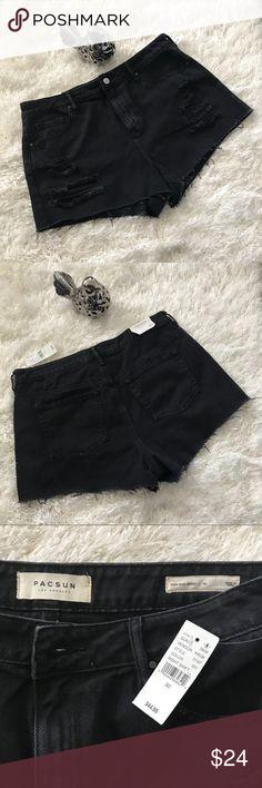 Nwt Pacsun Women's Ripped High Rise Shorts,Size 30 Nwt, Pacsun Night Shift (black) Ripped High Rise Cutoff Denim shorts,100% cotton,Size 30 PacSun Shorts