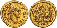 Caracalla (198-217). Aureus, 7.38 g, 12 h, Rome, 207. ANTONINVS PIVS AVG. Laureate head right. / COS II. Heracles, seated left on rock at low table, his left hand on club, propped on the ground, his right extended; on his right, togate Potitus, standing left with his right arm raised; on left, Pinarius, seated right. 5 slaves on either side, one offering plate; behind on left, crater on column with large amphora at its base; branches on far left and right; basin being wine vat or grape…