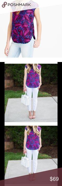Selling this J.CREW Fuscia Blue 100% SILK FLORAL Blouse Size 10 on Poshmark! My username is: dianajcrew. #shopmycloset #poshmark #fashion #shopping #style #forsale #J. Crew #Tops