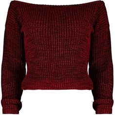 Natalie Marl Slash Neck Crop Fisherman Jumper (110 SEK) ❤ liked on Polyvore featuring tops, sweaters, shirts, jumpers, marled sweaters, red jumper, red top, boatneck shirt and boat neck shirt