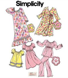 Girls SLEEPWEAR Sewing Pattern - BABY DOLL Pjs Nightgown Pajamas Robe Flower Pillow 5 Sizes #patterns4you #sew-lutions