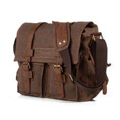 b3f817e3d6 Leather Vintage Messenger Shoulder Men Satchel Laptop School Briefcase Bag  USA Style - Retro