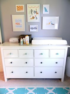 Dresser doubling as changing table; in her nursery then moved to be his/hers in kids' room (IKEA Hemnes) Baby Bedroom, Baby Boy Rooms, Baby Boy Nurseries, Nursery Room, Girl Nursery, Baby Girls, Ikea Dresser, Changing Table Dresser, Long Dresser