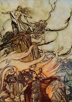 """Siegfried leaves Brunnhilde in search of adventure."" Art by Arthur Rackham"