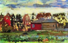 1905 AUTUMN EVENING, Stanislav Yulianovich  Zhukovsky (Russian 1875~1944) | Russian Impressionism; in 1923 moved to Poland; in WWII was arrested by the Nazis and held at the prisoner transit camp (Durchgangslager) at Pruszków where he died in 1944...