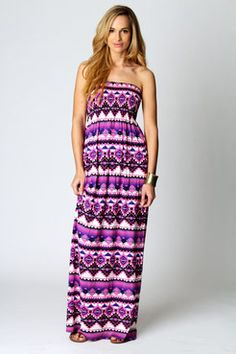 Olivia Printed Shirred Bandeau Maxi Dress, £20    www.boohoo.com