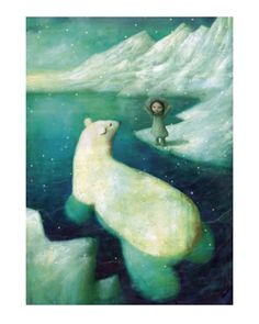 """Stephen Mackey, """"Polar Bear and Eskimo Girl"""". I love that polar bear's nose and all the rounded lines of it--the entire bear, that is."""