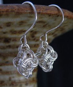 Short Sterling Silver Chainmaille Earrings by LoneRockJewelry