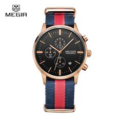8b7b7e15335 10 Pieces Lot Whole Top Luxury brand MEGIR Watches Men Chronograph Canvas  band Quartz-watch thin Dial Clock Man 2011 Relogio