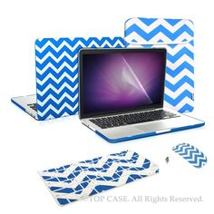 "Top Case 5 in 1 Bundle - Chevron Series Matte Hard Cover + Matching Color Chevron Zig-Zag Keyboard Skin + LCD Screen Protector + Sleeve Bag + Wireless Mouse for MacBook Pro 13.3"" with Retina Display Model: A1425 & A1502 (NEWEST VERSION 2013) - ROYAL BLUE"