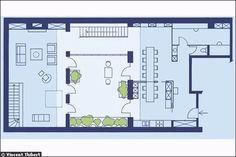 Une maison loft avec patio central (plan du rez-de-chaussée)