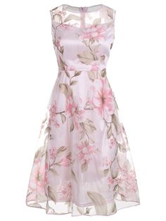 Vintage Style Round Neck See-Through Floral Printed Skater Dress