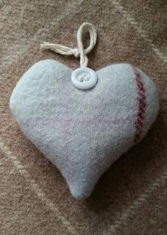 Soft wool organic lavender heart. Hand sewn by Cwtches.