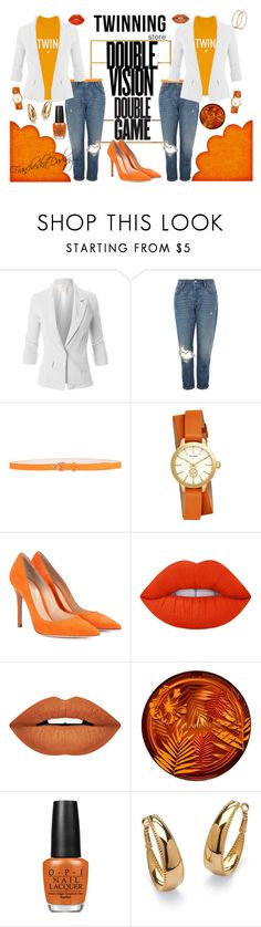"""""""Who Did That? #twinningstore pt.2"""" by francheskadarling ❤ liked on Polyvore featuring Vision, LE3NO, Topshop, Dsquared2, Tory Burch, Gianvito Rossi, Lime Crime, Forever 21, Clarins and OPI"""