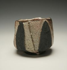 Faceted chawan teabowl, white shino  Lisa Hammond