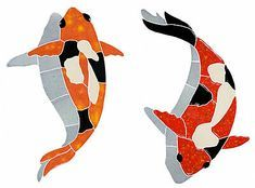 Mosaic Koi Fish w/ Shadow and Lily Pads for Swimming Pool or Wall -Free Shipping | eBay Mosaic Drawing, Koi Fish Drawing, Flower Art Drawing, Free Mosaic Patterns, Fish Patterns, Mosaic Garden Art, Mosaic Art, Stained Glass Designs, Mosaic Designs