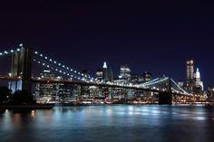 Ponte de Brooklyn, ponte do brooklyn, Nova york, Nova york, cidade, luzes da noite Vetor