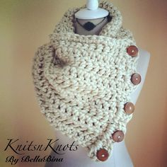 Los Angeles Tan Extra Wide Cowl with Wood by KnitsnKnotsBellaBina, $30.00