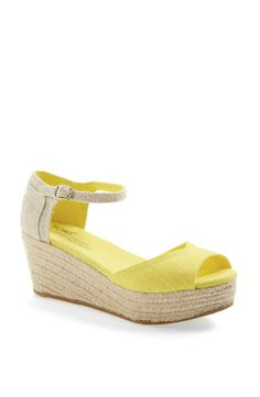 Yellow for summer! Cute espadrille to pair with a summer dress | Toms