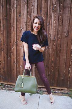wine colored jeans - dallas wardrobe