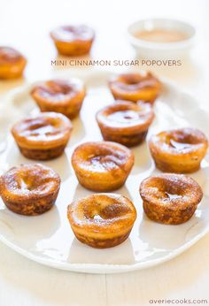 Mini Cinnamon Sugar Popovers - They taste like mini donuts and the blender batter is the easiest ever! No popover pan required!
