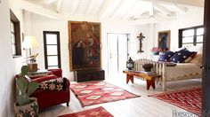 Classic red, white and blue rooms