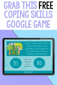Use this free coping skills activity to support students with anger management, anxiety or who could benefit from self-regulation. In this game, students will look at scenarios and decide whether or not they are examples of positive coping strategies. It is a digital game, which makes it great for socially distanced or virtual school counseling lessons. It can be used in individual, small group or classroom lessons! Coping Skills Activities, Educational Activities, Group Counseling, School Counseling, Guidance Lessons, Self Regulation, Anger Management, Student Learning, Elementary Schools
