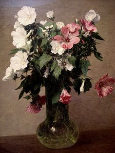 Henri Fantin-Latour: White and Pink Mallows in a Vase (1895)
