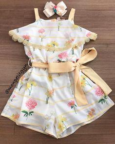 Best crochet baby romper little girls Ideas Girl Top Dress, Baby Girl Dresses, Baby Girl Fashion, Kids Fashion, Fashion Clothes, Little Girl Outfits, Kids Outfits, Cute Baby Clothes, Kids Wear