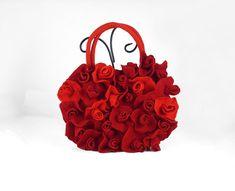 Felted Bag Handbag Purse Roses Felt Nunofelt Nuno felt Silk Silkyfelted Eco red ruby burgundy handmade fairy floral fantasy Fiber Art boho