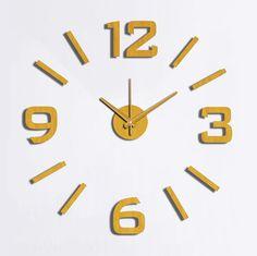 """המודרנית האופנה creative שעון קיר להדביק eva זהב ספרה 60 x 60 ס""""מ 10EM101G diy שעון קישוט"""