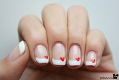 french nails with heart | Saturday, February 8, 2014