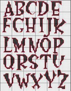 Alphabet Halloween cross stitch.