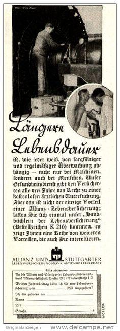 Original-Werbung/Anzeige 1936 - ALLIANZ UND STUTTGARTER LEBENSVERSICHERUNGSBANK - ca. 75 x 200 mm