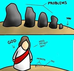 Jesus Christ is bigger than your problems. Cast your burdens on Him because He cares for you Prayer Quotes, Bible Verses Quotes, Jesus Quotes, Bible Scriptures, Spiritual Quotes, Faith Quotes, Jesus Bible, Funny Christian Memes, Christian Humor