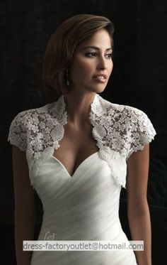Ivory White Lace Bridal Dress Jacket Short Sleeves Wedding Dress Bolero Jacket Size 2-18