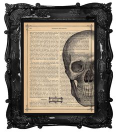 Half Wit Skull Vintage Book Print Vintage Book by BlackBaroque, $10.00... I could so make this on my own... Maybe the most inspiring pages from my favorite books.