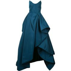 Oscar de la Renta ruffle draped gown (€10.045) ❤ liked on Polyvore featuring dresses, gowns, blue, oscar de la renta gowns, blue strapless dress, long dresses, blue gown and long evening gowns