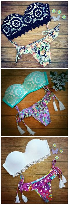 Give a Tangy Touch by wearing these Bandeau Trikini Push Up Vintage Beach Wear.