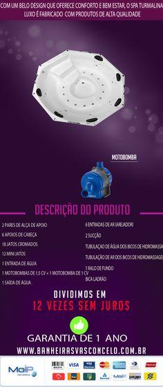 Com um belo design que oferece conforto e bem estar, o SPA Turmalina Luxo é fabricado com produtos de alta qualidade e acompanha os seguintes acessórios: 2 pares de Alça de Apoio 6 Apoios de Cabeça 18 Jatos cromados 12 Mini jatos 1 Entrada de água 1 Motobombas de 1,5 cv + 1 motobomba de 1 cv 1 Saída de água 6 entradas de ar (arejador) 2 Sucção Tubulaçao de água dos bicos de hidromassagem Tubulação de ar dos bicos de hidromassagem 1 Ralo de fundo Bica Ladrão