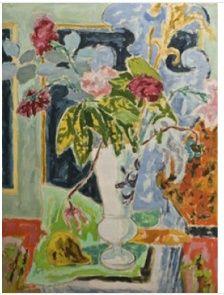 Jules Cavaillès - Vase de fleurs sur table , Not dated, Oil on paper - Jules Cavaillès Research Center