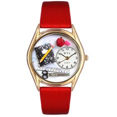 Teacher Red Leather And Goldtone Watch - http://www.artistic-watches.com/2012/11/06/teacher-red-leather-and-goldtone-watch/