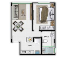 one bedroom simple floor Apartment Plans, One Bedroom Apartment, Home Design Floor Plans, House Floor Plans, Garage Apartments, Small Apartments, Small Space Living, Small Spaces, Tiny House Village