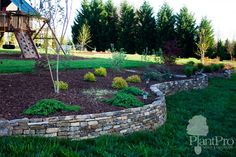 This natural stone retaining wall buffers a play gym and draws attention to the landscaping.