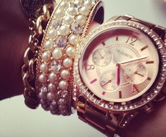 Rose gold watch+bracelets