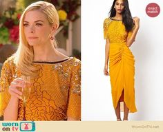 Lemon's yellow embellished dress with gathered side on Hart of Dixie.  Outfit Details: http://wornontv.net/32692/ #HartofDixie