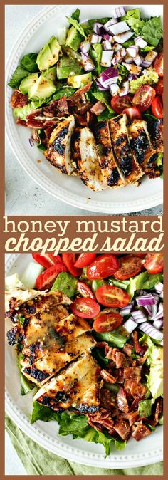 Honey Mustard Chopped Salad - Chicken breast is marinated in a honey mustard vinaigrette cooked and then topped on a bed of chopped Romaine cherry tomatoes red onion bacon and avocado. Chopped Salad Recipes, Best Salad Recipes, Summer Salad Recipes, Chicken Salad Recipes, Healthy Salad Recipes, Salad Chicken, Chopped Salads, Best Summer Salads, Healthy Salad With Chicken